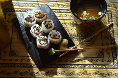 Суши, шар супа мисо, палочек Стоковые Изображения