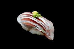Суши Aji или сырцовая лошадь - рыба скумбрии на японском рисе Японская еда традиции Стоковые Фото