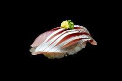 Суши Aji или сырцовая лошадь - рыба скумбрии на японском рисе Японская еда традиции Стоковое фото RF