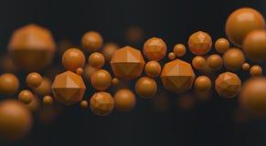Сфера абстрактного футуристического полигона оранжевые или предпосылка шарика иллюстрация вектора
