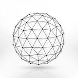 Сфера вектора Wireframe полигональная, линии абстрактный дизайн сети фрактали Стоковая Фотография RF