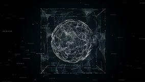 Сфера в анимации петли куба безшовной, видео 4K иллюстрация штока