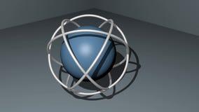 Сфера в космосе wireframe sperical вращая на светлом - серая предпосылка логотип 3d для технической и научной цели бесплатная иллюстрация