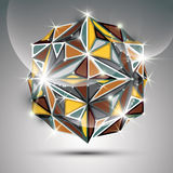 сфера золота 3D сияющая Вектора фрактали ослеплять конспект Стоковая Фотография RF
