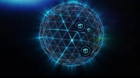 Сфера плекса взрывает в линии частиц и полигонов соединяясь в сети Обмен товары и услуги всемирно иллюстрация штока