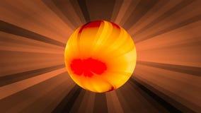 Сфера плазмы оранжевая на предпосылке лучей, развале шарика огня в частицы, рождения новых звезд фантазия иллюстрация штока