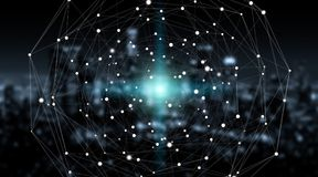 Сфера системы соединений и перевод обмен данными 3D Стоковое фото RF