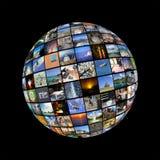 Сфера стены больших мультимедиа видео- на экранах ТВ Стоковые Фотографии RF