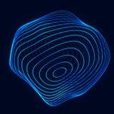 Сфера с линиями извива Предпосылка для бизнес-мероприятия Сфера технологии Wireframe голубая r стоковые фотографии rf