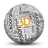 сфера 3D с отпечатком облака бирки Стоковая Фотография