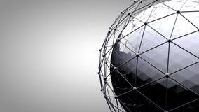 Сфера Wireframe соединяясь Линии соединения вокруг глобуса земли Концепция социальной сети, соединения глобуса стоковые фотографии rf
