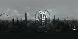 Сферически 360 градусов, город безшовного чужеземца панорамы футуристический перевод 3d стоковое изображение