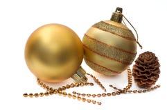 сферы украшения рождества стеклянные золотистые Стоковые Фото