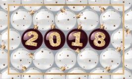 Сферы ` s 2018 Новых Годов с золотым текстом Шарик Кристмас вектор изображения иллюстрации элемента конструкции также вектор иллю Стоковое фото RF