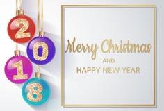 Сферы ` s 2018 Новых Годов с золотым текстом Шарик Кристмас вектор изображения иллюстрации элемента конструкции также вектор иллю Стоковое Изображение