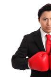 Сфокусированный вытаращить боксер бизнесмена Стоковое фото RF