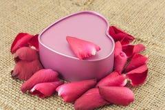 Сформированная сердцем коробка металла с красной розой помещена на дерюге Стоковые Изображения RF