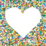 Сформированная сердцем красочная предпосылка кучи Confetti вектора с свободной Стоковое Изображение