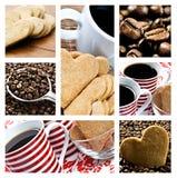 сформированное сердце печений коллажа кофе Стоковые Изображения RF