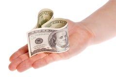 сформированные деньги сердца Стоковые Изображения