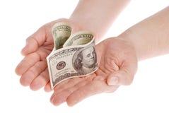 сформированные деньги сердца Стоковая Фотография