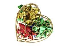 сформированный металл сердца подарка коробки смычков Стоковая Фотография RF