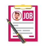 Сформируйте вектор заявления о приеме на работу Деловой документ Резюме, карьера Концепция человеческих ресурсов HR Мужское фото  бесплатная иллюстрация