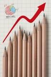 сформируйте карандаш удельного веса на рынке диаграммы Стоковое Изображение