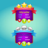 Сформируйте пользовательский интерфейс игры дизайна для видеоигр для comput Стоковые Изображения RF