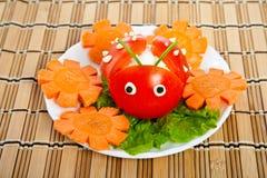 сформируйте томат салата салата ladybird Стоковое фото RF