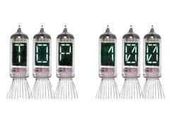 Сформулируйте 100 ЛУЧШИХ сделанное от реального индикатора Nixie механотронного на белой предпосылке изолировано Дисплей лампы с  Стоковое Изображение RF