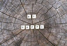 Сформулируйте счастливый шариков алфавита на поверхности пня дерева в лесе Стоковые Фотографии RF