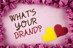 Сформулируйте текст сочинительства что ваш вопрос о бренда Концепция дела для товарного знака Define индивидуального определяет к Стоковая Фотография RF
