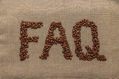 Сформулируйте «FAQ» кофейных зерен Стоковые Изображения