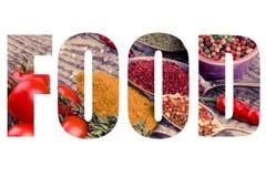 Сформулируйте ЕДУ над пуком томатов вишни, трав, малого шара и a Стоковое Изображение