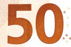Сфотографированный номер в евро 50 банкнот Стоковые Изображения