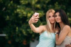 Сфотографированы и наслаждаются брюнет и блондинка жизнью день солнечный Лето Стоковые Фотографии RF