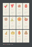 Calendar 2014. Calendar for 12 months with symbols Vector Illustration