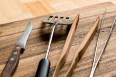 Схваты и столовый прибор барбекю Стоковая Фотография RF