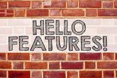 Схематическая воодушевленность титра текста объявления показывая характеристики Концепция дела для рекламы рекламы написанной на  стоковое изображение
