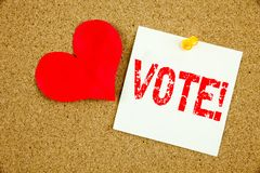 Схематическая воодушевленность титра текста сочинительства руки показывая концепцию голосования для голосуя голосования выборщико Стоковые Фото