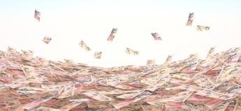 Схематическая иллюстрация валюты в наличных деньгах на backg неба стоковые изображения