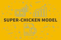Схематическая иллюстрация дела с сверх-цыпленком mo слов иллюстрация вектора