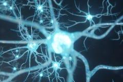Схематическая иллюстрация клеток нейрона с накаляя узлами связи Клетки синапса и нейрона посылая электрический химикат иллюстрация вектора