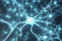 Схематическая иллюстрация клеток нейрона с накаляя узлами связи Клетки синапса и нейрона посылая электрический химикат бесплатная иллюстрация