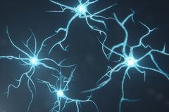 Схематическая иллюстрация клеток нейрона с накаляя узлами связи Клетки синапса и нейрона посылая электрический химикат иллюстрация штока