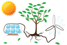 Схематическая иллюстрация энергии солнечных и ветра Стоковое фото RF