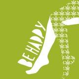 Схематическая иллюстрация вектора: сексуальные женские ноги с чулками лист конопли дальше Текст счастлив Стоковая Фотография RF