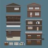 Схематическая иллюстрация деревянного дома в низком подъеме жилом в Бангкоке, Таиланде Стоковое Изображение RF