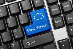 Схематическая клавиатура - ключ сини обслуживания облака стоковые фото